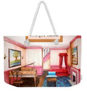 Antique Salon - Colonial Red And Blue Weekender Tote Bag