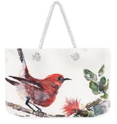 Apapane - Native Hawaiian Bird Weekender Tote Bag