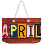 April License Plate Name Sign Fun Kid Room Decor Weekender Tote Bag
