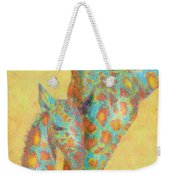 Aqua And Orange Giraffes Weekender Tote Bag