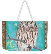 Aqua Barred Owl Weekender Tote Bag