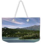 Aqua Green Mountain Lake Weekender Tote Bag