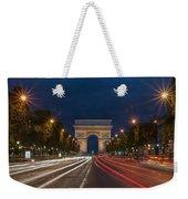 Arch De Triomphe And Avenue Des Champs Elysees Paris France Weekender Tote Bag
