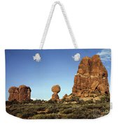 Arches National Park With Balanced Rock And Rock Formations Weekender Tote Bag
