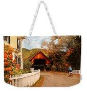 Architecture - Woodstock Vt - Entering Woodstock Weekender Tote Bag by Mike Savad