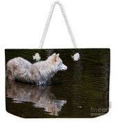 Arctic Wolf In Pond Weekender Tote Bag