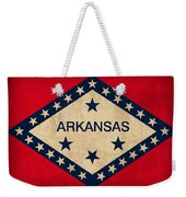 Arkansas State Flag Art On Worn Canvas Weekender Tote Bag by Design Turnpike