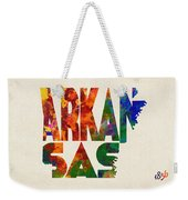 Arkansas Typographic Watercolor Map Weekender Tote Bag