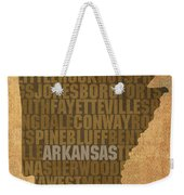Arkansas Word Art State Map On Canvas Weekender Tote Bag