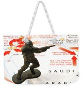 Army Man Standing On Middle East Conflicts Map Weekender Tote Bag