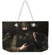 Army Soldier With Security Screen Saver Weekender Tote Bag