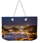 Arrabida Bridge At Night In Porto And Gaia Weekender Tote Bag