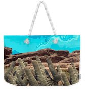 Art No 1901 American Landscape Cactus Stone Mountains And Skyview By Navinjoshi Artist Toronto Canad Weekender Tote Bag