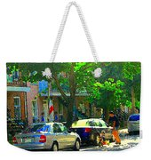 Art Of Montreal Day With Daddy And Yellow Wagon Zooming Our Streets Of Verdun Scene Carole Spandau  Weekender Tote Bag