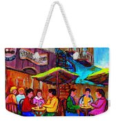 Art Of Montreal Enjoying A Pint At Ye Olde Orchard Irish Pub And Grill Monkland Village Cafe Scenes Weekender Tote Bag