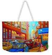 Art Of Montreal Summer Street Scenes Of Quebec With Caleche Near Cafes On Cobblestones Old Montreal Weekender Tote Bag