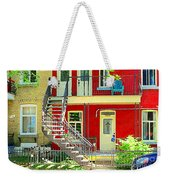 Art Of Montreal Upstairs Porch With Summer Chair Red Triplex In Verdun City Scene C Spandau Weekender Tote Bag