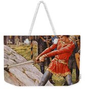 Arthur Draws The Sword From The Stone Weekender Tote Bag by Walter Crane