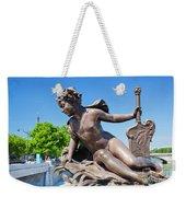 Artistic Statue On Alexandre Bridge Against Eiffel Tower Weekender Tote Bag
