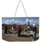 Artists Painting Tulip Fields Standing In A Row  Weekender Tote Bag