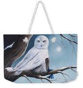 White Snow Owl Painting Weekender Tote Bag
