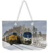 Ashland Trains In The Snow Weekender Tote Bag
