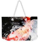 Asian Koi Fish - Black White And Red Weekender Tote Bag