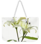 Asiatic Lily Flowers Against White Weekender Tote Bag