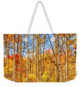 Aspen Fall Foliage Portrait Red Gold And Yellow  Weekender Tote Bag