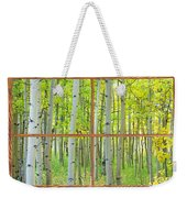 Aspen Tree Forest Autumn Picture Window Frame View  Weekender Tote Bag