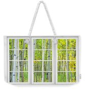 Aspen Tree Forest Autumn Time White Window View  Weekender Tote Bag by James BO  Insogna
