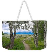 Aspen Trees On Trail To Jackson Lake At Willow Flats Overlook In Grand Teton National Park-wyoming  Weekender Tote Bag