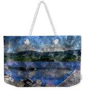 At The Lake - Fishing - Steel Engraving Weekender Tote Bag