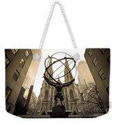 Atlas At Rockefeller Center Back Side Weekender Tote Bag