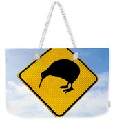 Attention Kiwi Crossing Road Sign Weekender Tote Bag