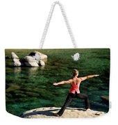 Attractive Woman Doing Yoga Weekender Tote Bag