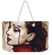 Audrey Hepburn - Quiet Sadness Weekender Tote Bag by Olga Shvartsur