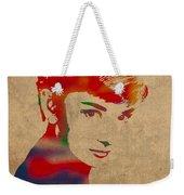 Audrey Hepburn Watercolor Portrait On Worn Distressed Canvas Weekender Tote Bag