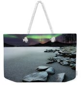 Aurora Borealis Over Sandvannet Lake Weekender Tote Bag by Arild Heitmann
