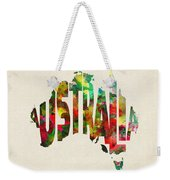 Australia Typographic Watercolor Map Weekender Tote Bag
