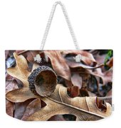 Autumn Acorn And Oak Leaves Weekender Tote Bag by Jennie Marie Schell