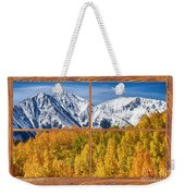 Autumn Aspen Tree Forest Barn Wood Picture Window Frame View Weekender Tote Bag by James BO  Insogna