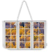 Autumn Aspen Trees White Picture Window View Weekender Tote Bag