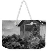 Autumn Barn - Upclose Cropped - Black And White Weekender Tote Bag