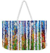 Autumn Birch Trees Abstract Weekender Tote Bag