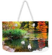 Autumn By The Swan Lake Weekender Tote Bag