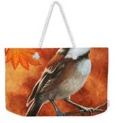 Autumn Chickadee Weekender Tote Bag