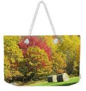 Autumn Hay Being Harvested In Maine Weekender Tote Bag