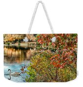 Autumn Lake And Swan Weekender Tote Bag