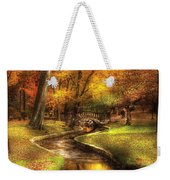 Autumn - Landscape - By A Little Bridge  Weekender Tote Bag by Mike Savad